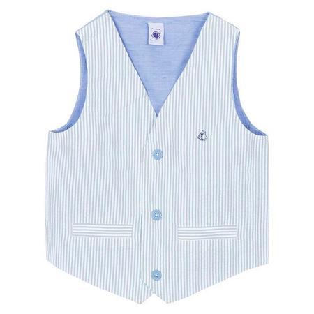 KIDS Petit Bateau Seersucker Vest - Blue And White Stripes