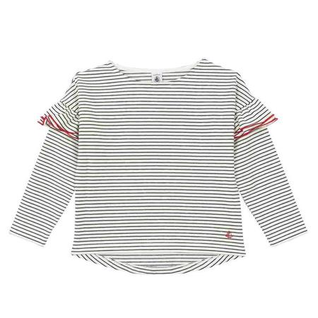 KIDS Petit Bateau Sweatshirt With Ruffles - White With Navy Blue Stripes