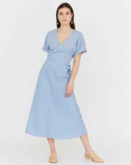 Esby Monet Wrap Dress - Ocean Blue Houndstooth