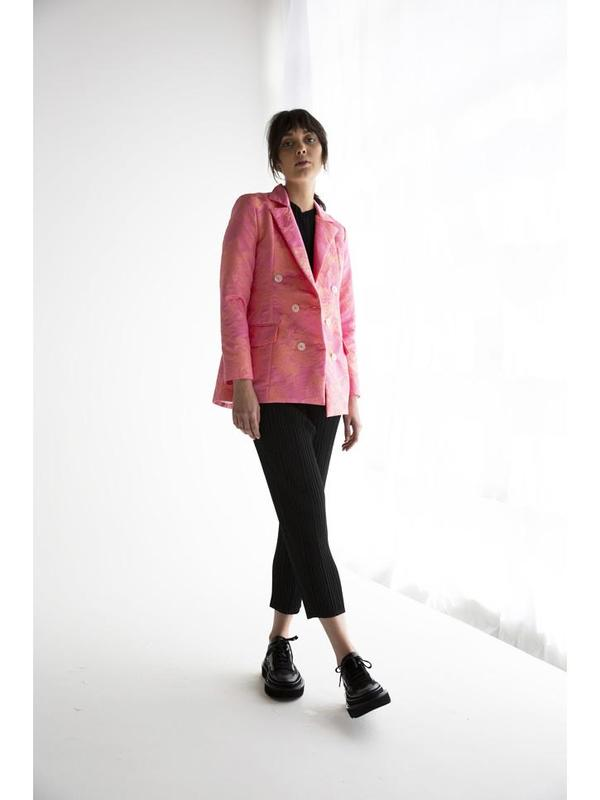 Suzanne Rae Fitted Floral Jacquard Blazer - Bubble Gum Pink