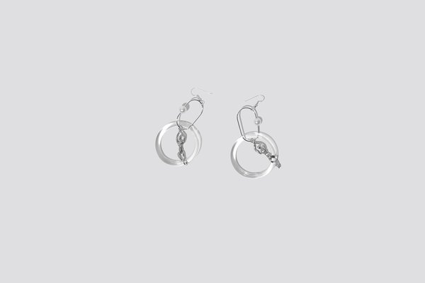 Faux / Real Swim and Kiss Single Earring - Silver