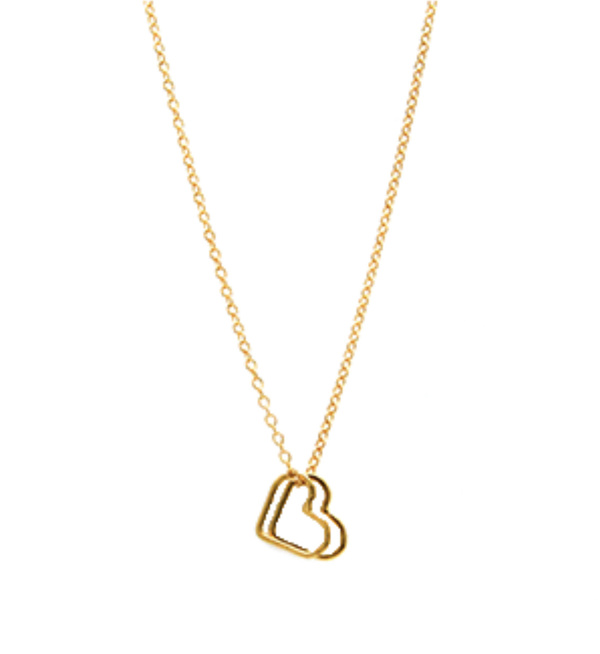 Jurate Brown 2Heart Necklace - 14k Gold