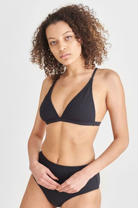 Static Swimwear HERMOSA RIB SWIM TOP - BLACK