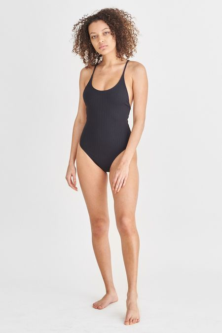 Static Swimwear PACIFIC RIB ONE PIECE - BLACK