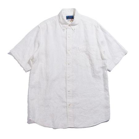 Blue Blue Japan Linen Button Down Short Sleeve Shirt - White