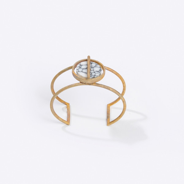 Metalepsis Projects Disc Cuff - White Stone