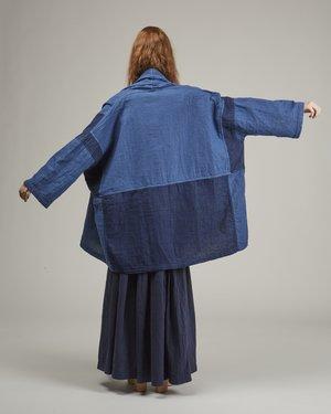 Atelier Delphine Haori Patchwork Denim Coat - Indigo Combo