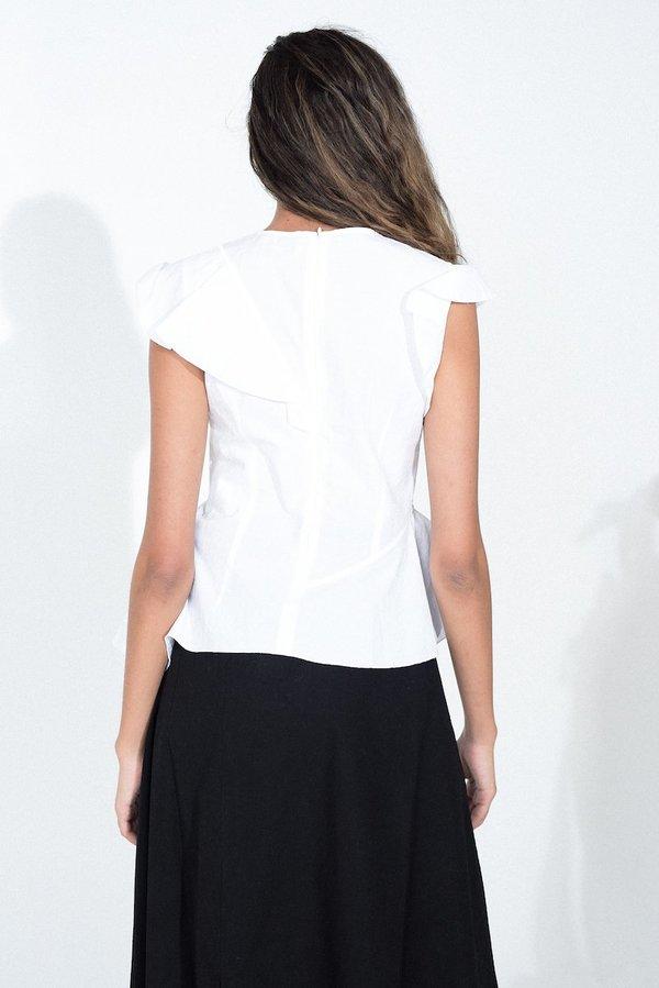 Hache Ruffled Blouse - White