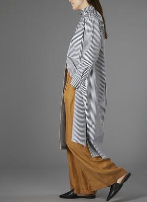 GREI TWO POCKET SHIRT DRESS - KHAKI/WHITE STRIPE