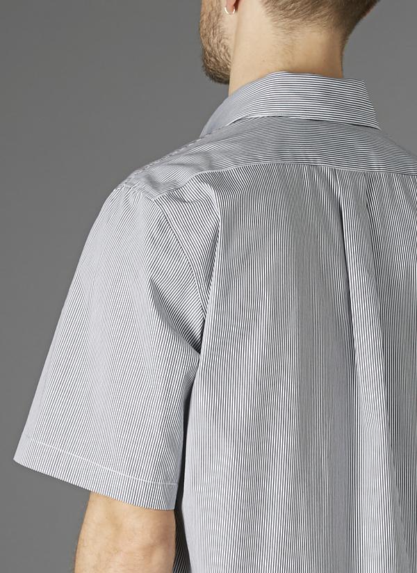 GREI SHORTSLEEVE SACK POCKET SHIRT - BLUE/WHITE STRIPE