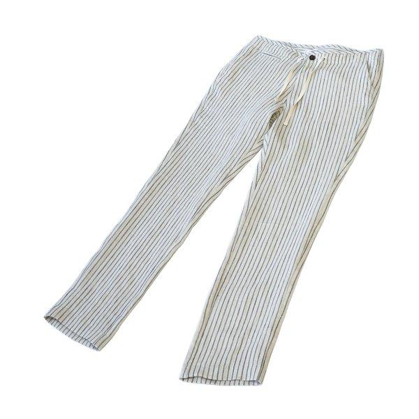 Freemans Sporting Club EZ Linen Trouser - Flax Stripe