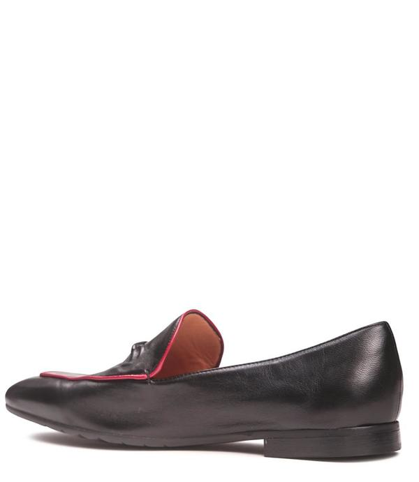 Mara Bini Leather Flat Loafer - Black