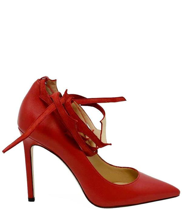 Eugene Riconneaus Red Leather Lace Pump