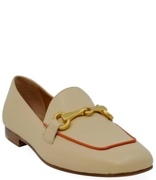 Mara Bini Leather Flat Loafer - Beige