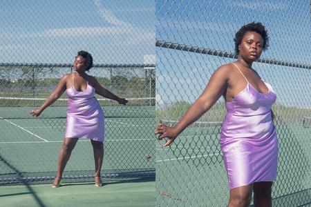 Priscavera Low Back Slip Dress - Violet