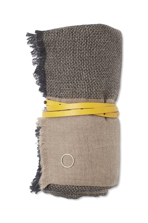 Oyuna Ete Basket Weave Cashmere Travel Throw - Charcoal Grey/Taupe