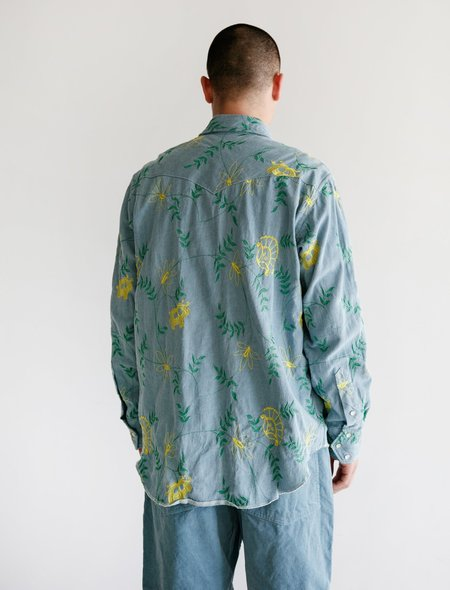 Engineered Garments Western Shirt - Denim Floral Embroidery