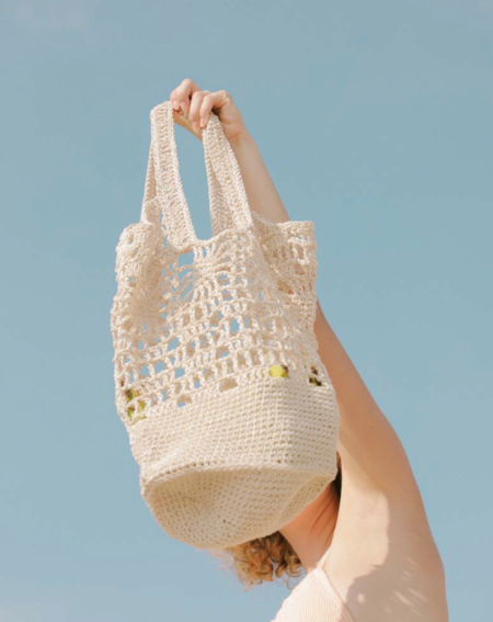 Kordal Crochet 100% Cotton Cord Tote - Natural