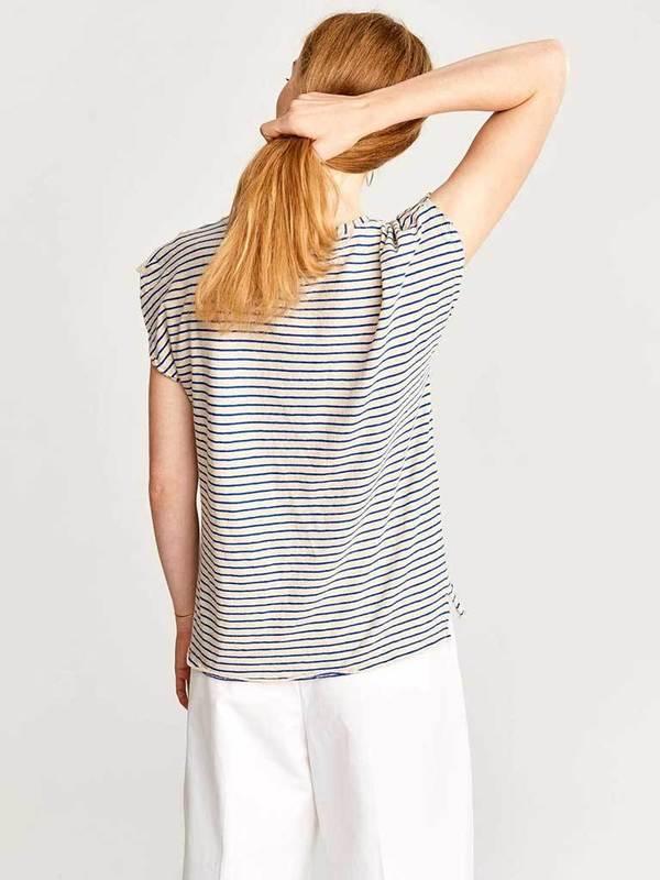 Bellerose Chaza T-Shirt - Blue/Ecru