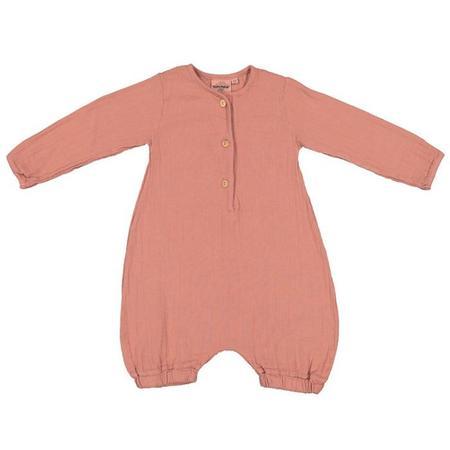 Kids Moumout Paris Jim Long Sleeved Romper - Terracotta Brown