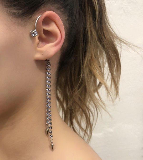 Joomi Lim Crystal & Spike Ear Cuff - Rhodium/Lavender