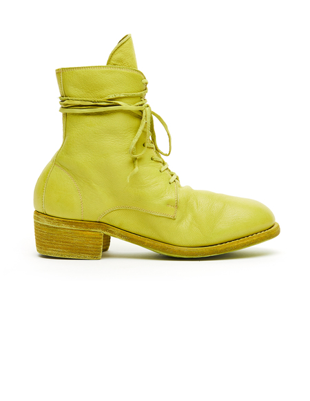 Guidi Leather Lace Up Boots - Yellow