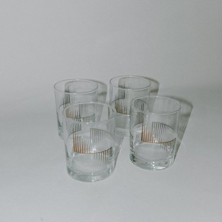 VINTAGE Leigh Collective 60's Low Ball Glasses - Gold Foil