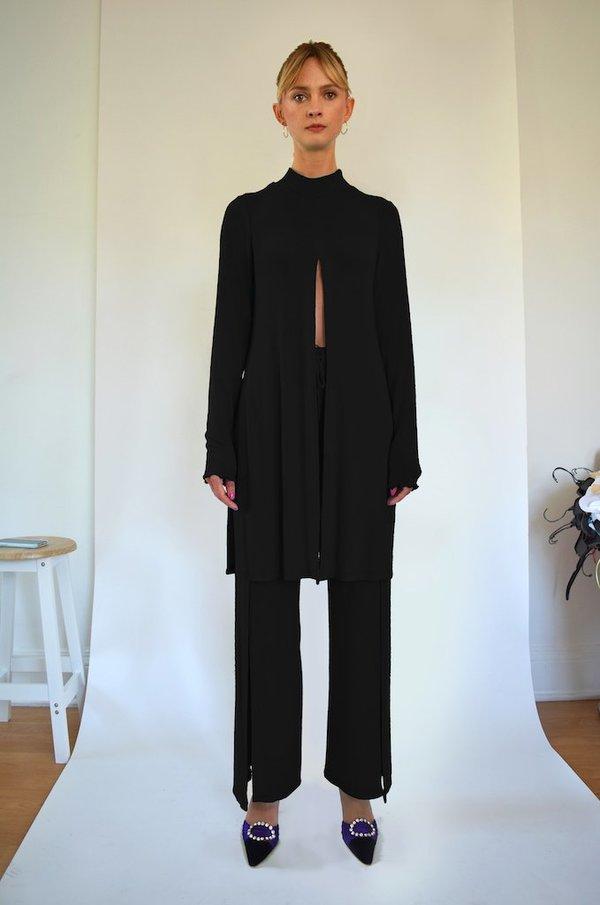 Oori Ott Elvira Long Sleeve Mock Neck Split Top - Black