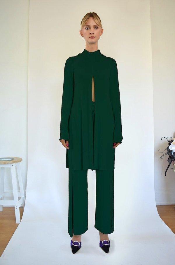 Oori Ott Elvira Long Sleeve Mock Neck Split Top - Deep Emerald
