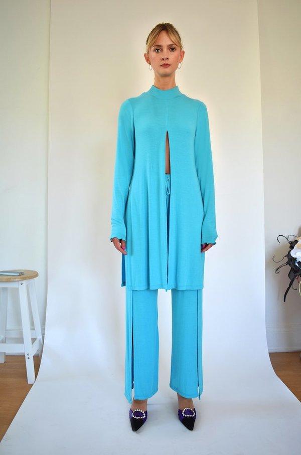 Oori Ott Elvira Long Sleeve Mock Neck Split Top - Tiffany Blue