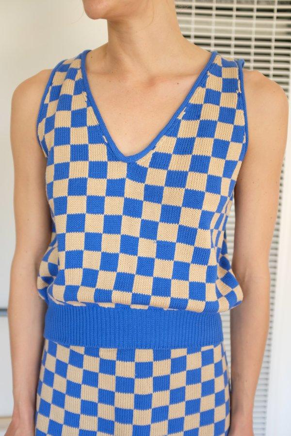 Beklina Knit Check Tank - French Blue
