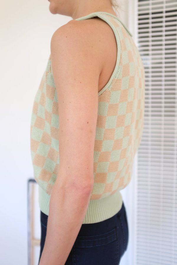 Beklina Knit Check Tank - Mint/Toast