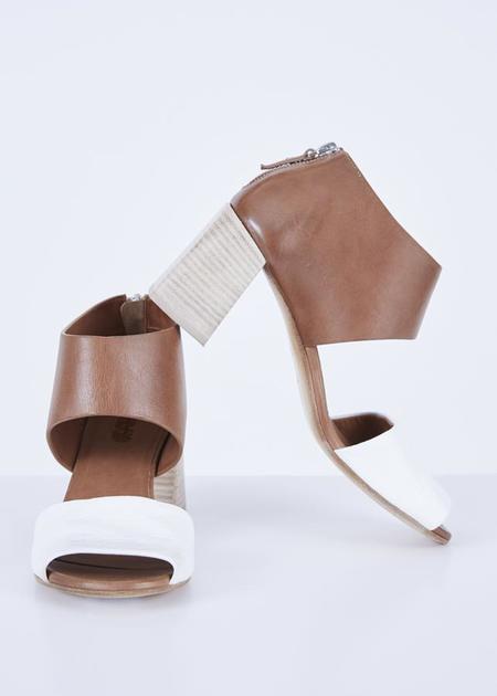 Marsèll Stuzzico Heeled Sandal - Hazelnut/White