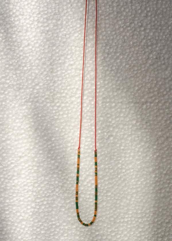 Zelda Murray Bead Necklace - Green/Orange