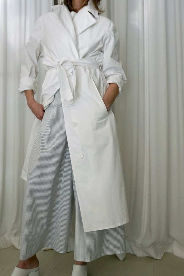MM6 TRENCH COAT - WHITE COTTON