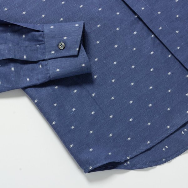 Outclass Linen Polka Dot shirt - Blue