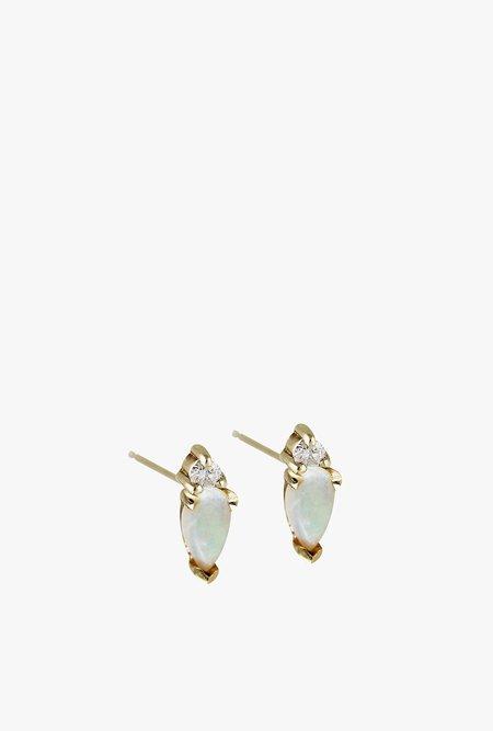 Lumo Emilia Opal Stud Earrings Single - White Diamonds/Opal