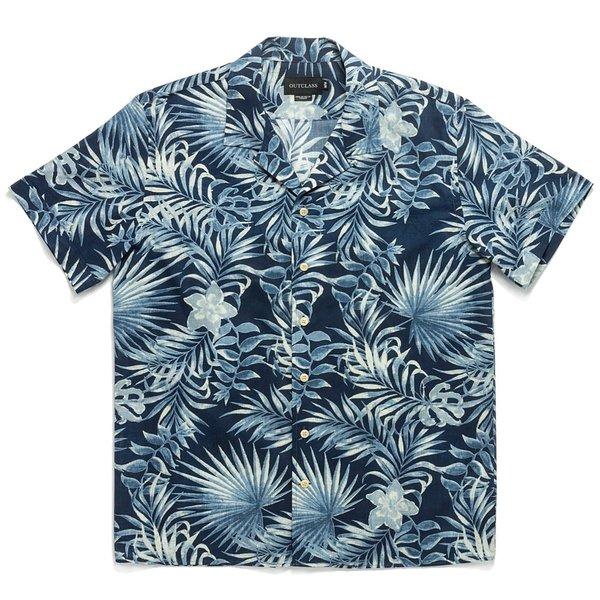Outclass Tropical Havana Short Sleeve shirt - Navy