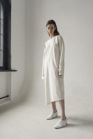 K M by L A N G E LINEN REMOVABLE SLEEVE DRESS - WHITE