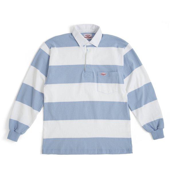Battenwear Pocket Rugby Jersey Shirt - White/Light Blue