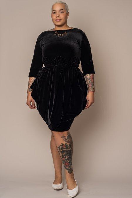 JIBRI Velvet Boat Neck Slouch Dress - BLACK