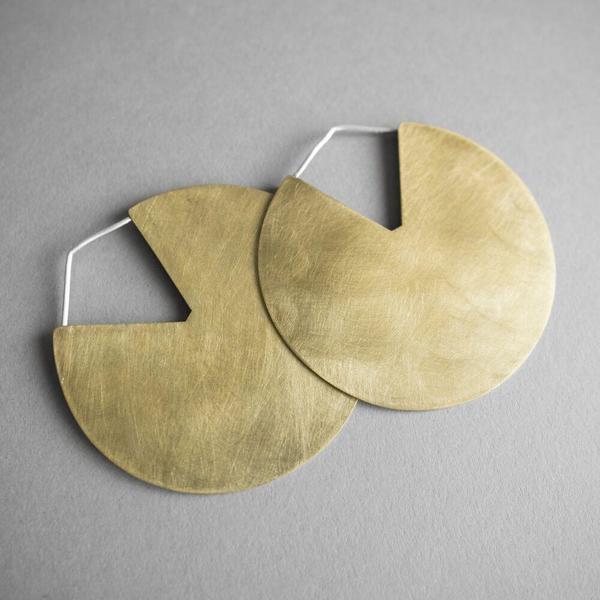 Modern Madini Large Brass Disc Earrings - Brass