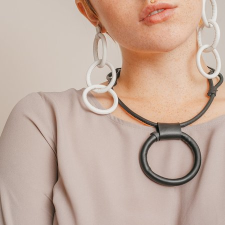Adder Jewelry Leather Portal Necklace with Adjustable Length