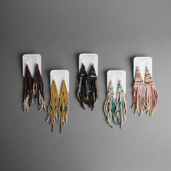 brass earrings Beaded fringe