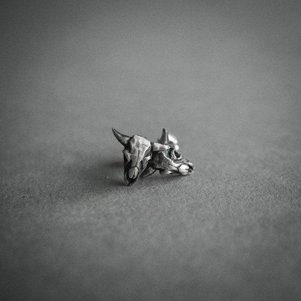 Theeth Buffalo Skulls Stud Earrings - SILVER