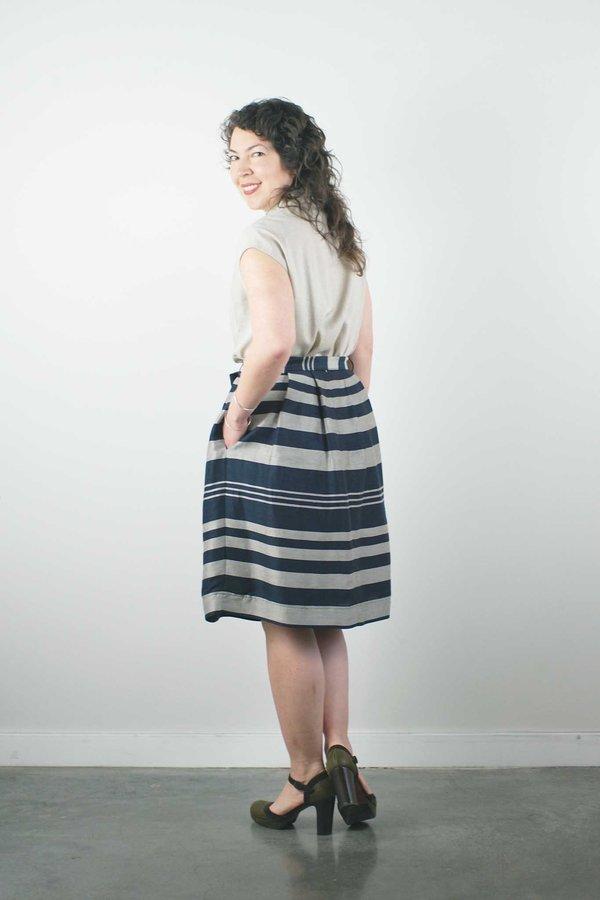 Jennifer Glasgow Cristales Skirt - Navy Stripe
