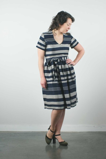 Jennifer Glasgow Gambia Dress - Navy Stripe