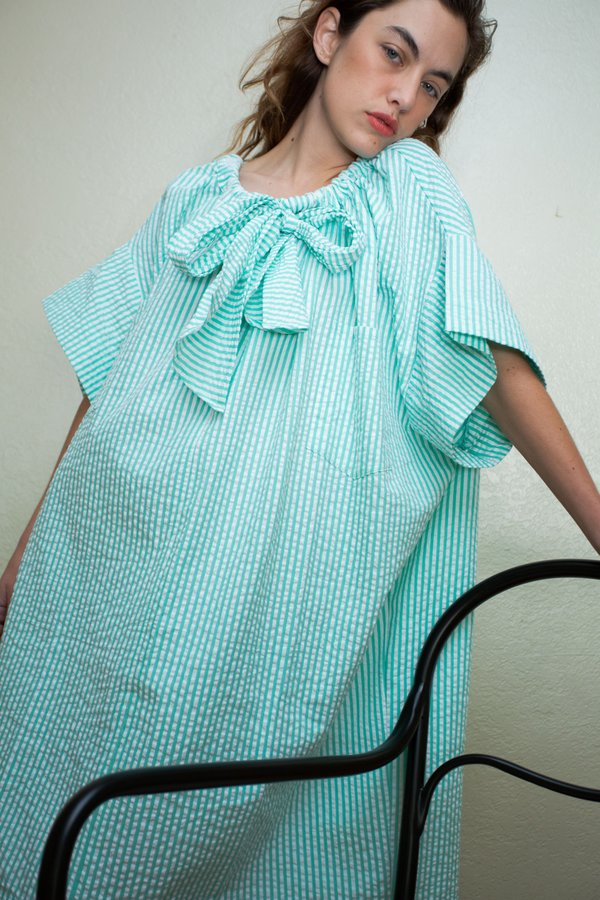 Desireeklein Piaget Dress - Green Stripe Seersucker