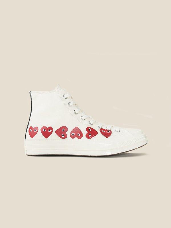 COMME DES GARCONS PLAY x CONVERSE Chuck 70 Multi Heart White Sneakers
