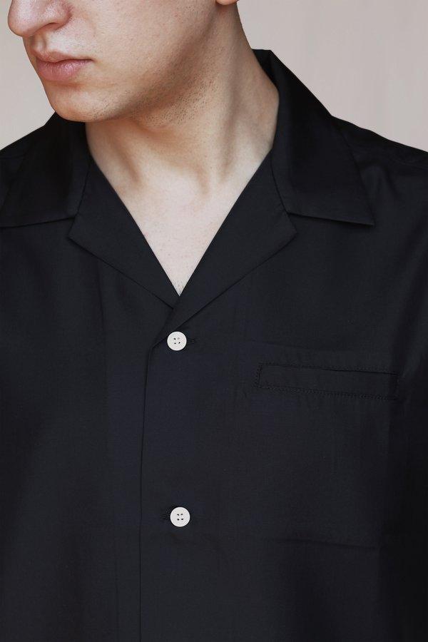 Commun des Mortels silk camp collar shirt - Black